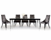 Transitional Dining Set w/ Crocodile Lacquer Table 44D838-221-SET