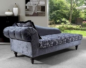 Transitional Fabric Chaise w/ Tufted Acrylic Crystals 44L0605