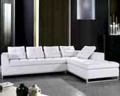 Tufted White Leather Sectional Sofa Set 44L0347