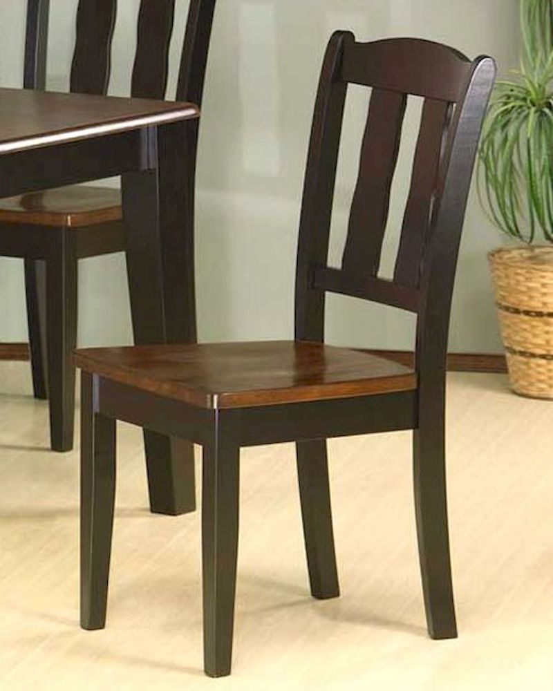 *Two Tone Dining Chair In Black And Tobacco ( Set Of 2