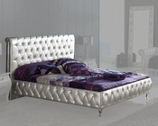 Upholstered Platform Bed Lolita in Silver Finish Made in Spain 33B282