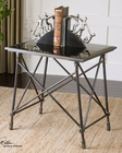 Uttermost Black Glass End Table Collier UT-24419