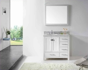 "Virtu USA 36"" Round Sink Bathroom Vanity Caroline VU-GS-50036-WMRO-WH"