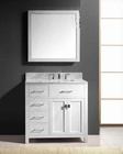 "Virtu USA 36"" Square Sink Bathroom Vanity Caroline VU-MS-2136L-WMSQ-WH"