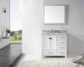 "Virtu USA 36"" Square Sink Bathroom Vanity Caroline VU-GS-50036-WMSQ-WH"