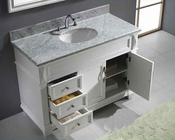 "Virtu USA 48"" Round Sink Bathroom Vanity set White VU-MS-2648-WMRO-WH"