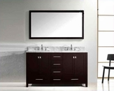 "Virtu USA 60"" Round Sink Bathroom Vanity Caroline VU-GD-50060-WMRO-ES"