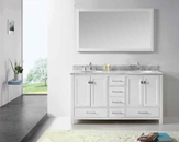 "Virtu USA 60"" Round Sink Bathroom Vanity Caroline VU-GD-50060-WMRO-WH"