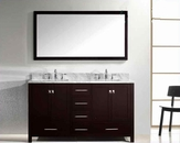 "Virtu USA 60"" Square Sink Bathroom Vanity Caroline VU-GD-50060-WMSQ-ES"