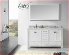 "Virtu USA 60"" Square Sink Bathroom Vanity Caroline VU-GD-50060-WMSQ-WH"