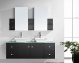 "Virtu USA 61"" Double Sink Bathroom Vanity Clarissa Espresso VU-MD-435"