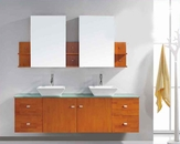 "Virtu USA 72"" Double Sink Bathroom Vanity Clarissa Honey Oak VU-MD-415"