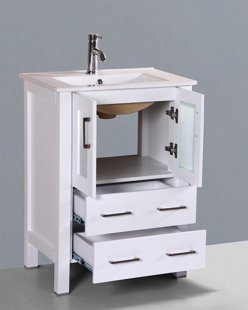 White 24in Integrated Sink Single Vanity by Bosconi BOAW124U