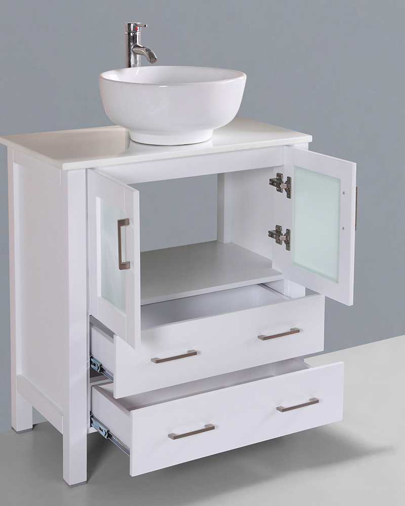 White 30in Round Vessel Sink Single Vanity By Bosconi BOAW130RO