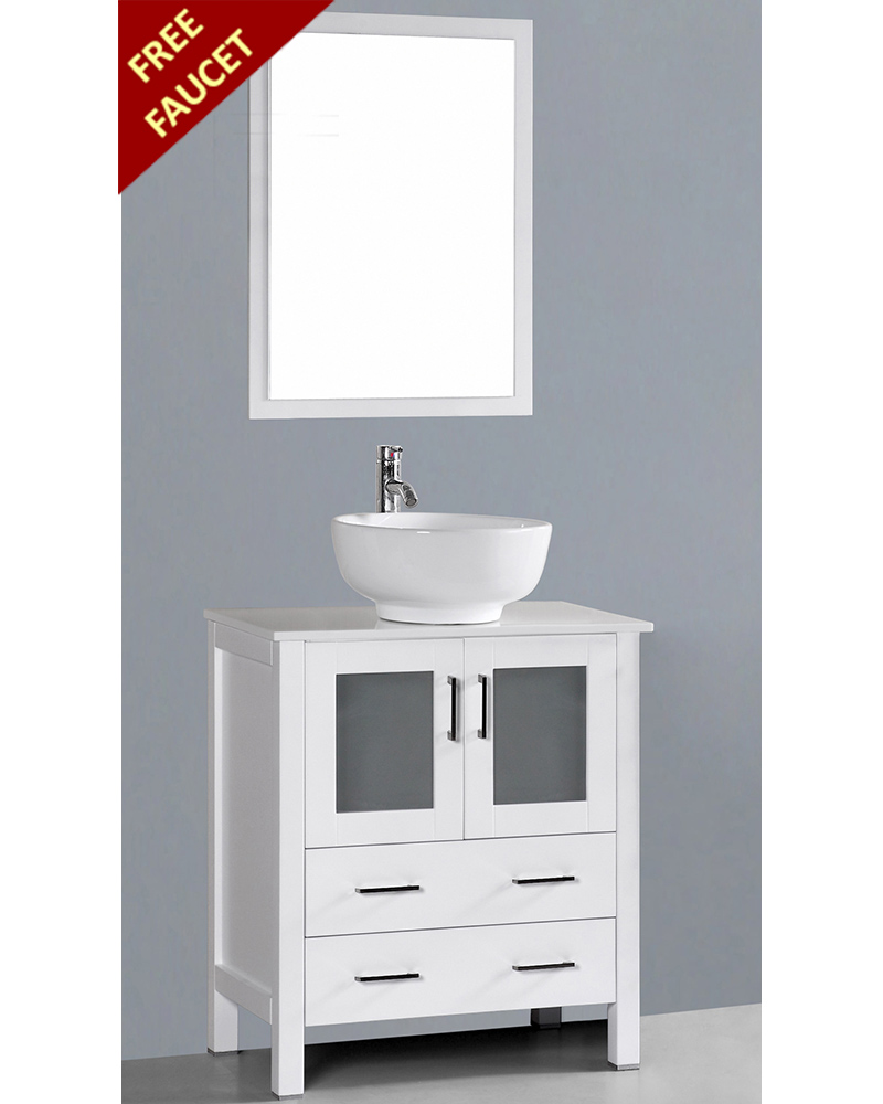 Round Vessel Sink Vanity : White 30in Round Vessel Sink Single Vanity by Bosconi BOAW130RO