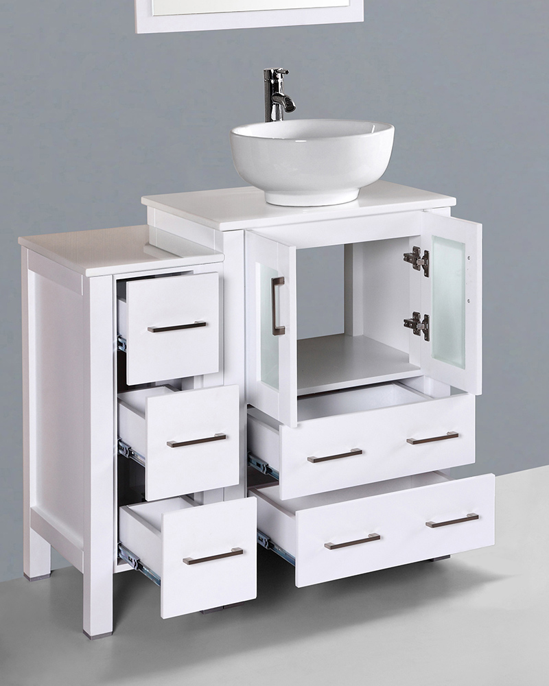 Round Vessel Sink Vanity : White 36in Round Vessel Sink Single Vanity by Bosconi BOAW124RO1S