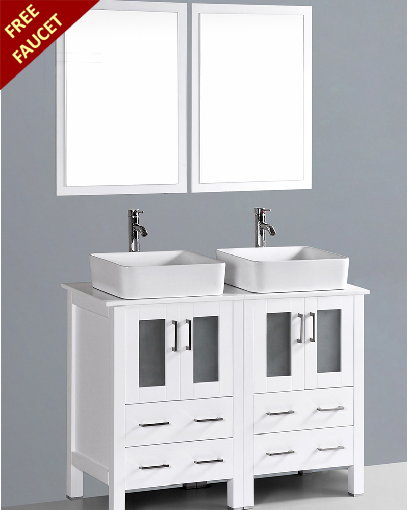 White 48in Double Rectangular Vessel Sink Vanity By