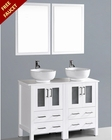 White 48in Double Round Vessel Sink Vanity by Bosconi BOAW224RO