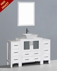 White 54in Square Vessel Sink Single Vanity by Bosconi BOAW130S2S