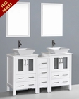 White 60in Square Vessel Sink Double Vanity by Bosconi BOAW224S1S