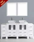 White 72in Square Vessel Sink Double Vanity by Bosconi BOAW224S2S
