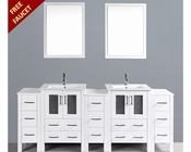 White 84in Double Integrated Sink Vanity by Bosconi BOAW224U3S