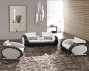 White and Black Bonded Leather Sofa Set 44L2811