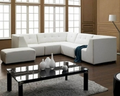 White Bonded Leather Sectional Sofa Set 44L2827