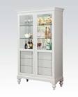 White Curio Cabinet w/ 6 Drawers by Acme Furniture AC90107