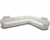 White Full Leather Modern Sectional Sofa Set 44L1377