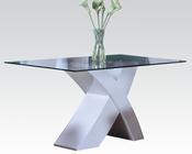 White Glass Dining Table Pervis by Acme Furniture AC71105