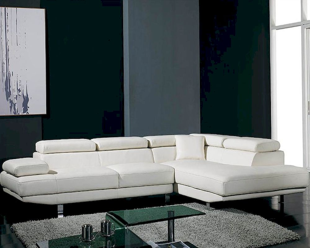 White Leather 2pc Sectional Sofa Set 44LT60HL