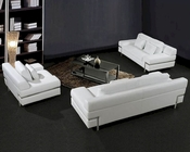 White Leather Sofa Set 44L0725