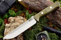 Bark River Knives: Bravo-1.5 A2 Steel Fixed Blade Survival / Bushcraft / Military / Tactical / Utility / Outdoor / Fighting / Collector Knife w/ Green Canvas Micarta Handle