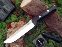 Bark River Knives: Bravo-1.5 CPM 3V Steel Fixed Blade Survival / Bushcraft / Military / Tactical / Utility / Outdoor / Fighting / Collector Knife w/ Black Canvas Micarta Handle