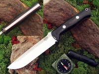Bark River Knives: Bravo-1.5 CPM 3V Steel Fixed Blade Survival / Bushcraft / Military / Tactical / Utility / Outdoor / Fighting / Collector Knife w/ Black Canvas Micarta Handle & Red Liners