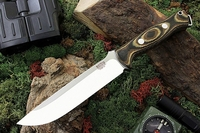 Bark River Knives: Bravo-1.5 CPM 3V Steel Fixed Blade Survival / Bushcraft / Military / Tactical / Utility / Outdoor / Fighting / Collector Knife w/ Camo Canvas Micarta Handle & Black Liners
