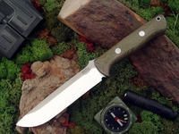 Bark River Knives: Bravo-1.5 CPM 3V Steel Fixed Blade Survival / Bushcraft / Military / Tactical / Utility / Outdoor / Fighting / Collector Knife w/ Green Canvas Micarta Handle