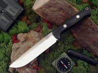 Bark River Knives: Bravo-1.5 CPM 3V Steel, Rampless (Smooth Spine), Fixed Blade Survival / Bushcraft / Military / Tactical / Utility / Outdoor / Fighting / Collector Knife w/ Black G10 Handle