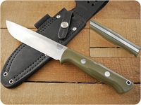 Bark River Knives: Bravo-1.5 CPM 3V Steel (Rampless) Fixed Blade Survival / Bushcraft / Military / Tactical / Utility / Outdoor / Fighting / Collector Knife w/ Ranger Green G10 Handle & Black Liners