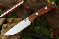 Bark River Knives: Bravo-1 CPM 3V Steel Fixed Blade Survival / Bushcraft / Military / Tactical / Fighting / Outdoor / Hunting / Collector Knife w/ Cocobolo Handle & Red Liners - Rampless