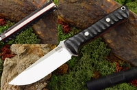 Bark River Knives: Bravo-1 CPM 3V Steel Fixed Blade Survival / Bushcraft / Military / Tactical / Fighting / Outdoor / Hunting / Collector Knife w/ Impala Horn Handle & Red Liners