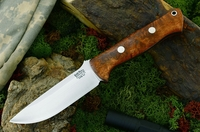 Bark River Knives: Bravo-1 CPM 3V Steel Fixed Blade Survival / Bushcraft / Military / Tactical / Fighting / Outdoor / Hunting / Collector Knife w/ Natural Maple Burl Handle
