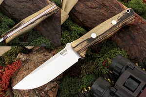 Bark River Knives: Bravo-1 LT CPM 3V Steel Fixed Blade Survival / Bushcraft / Military / Tactical / Fighting / Outdoor / Hunting / Collector Knife w/ Black & White Ebony Handle & Red Liners
