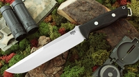 Bark River Knives: Bravo-2, A2 Steel, Fixed Blade Survival / Bushcraft / Military / Tactical / Utility / Fighting / Collector Knife w/ Black Canvas Micarta Handle - Swedge Grind