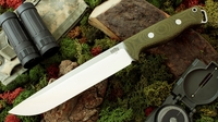 Bark River Knives: Bravo-2, A2 Steel, Fixed Blade Survival / Bushcraft / Military / Tactical / Utility / Fighting / Collector Knife w/ Green Canvas Micarta Handle - Rampless