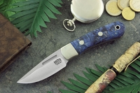 Bark River Knives: Essential EDC (With Bolster) Fixed Blade Every Day Carry / General Purpose / Personal Protection / Collector / Hunting Knife w/ Blue & Gold Maple Burl Handle