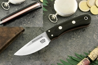 Bark River Knives: Essential EDC (Without Bolster) Fixed Blade Every Day Carry / General Purpose / Personal Protection / Collector / Hunting Knife w/ Black Canvas Micarta Handle & Red Liners