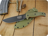 ESEE Knives: ESEE-6P-OD-RG10-OL, Fixed Blade Tactical / Military / Survival / Outdoor / Hunting / Camping / Hiking / General Purpose / Bushcraft / Knife with Black Plain Edge Blade & tkc Custom Ranger Green G10 Handle, Orange Liners