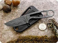 ESEE Knives: ESEE-Izula-DAMASCUS, Fixed Blade Tactical / Military / Survival / Every Day Carry / Concealed Carry / Personal Protection / General Purpose Knife with Skeletized Handle - Damascus Steel